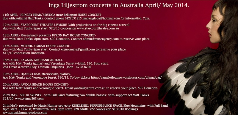 INGA LILJESTROM CONCERTS IN AUSTRALIA APRIL/ MAY 2014!!!
